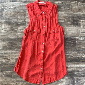 Maurices Red Sleeveless Tank with Collar